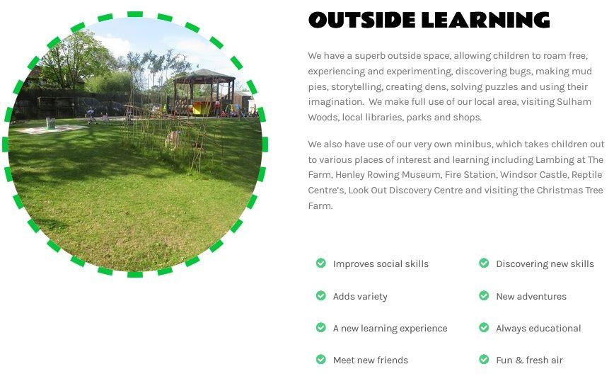 nursery school web site design