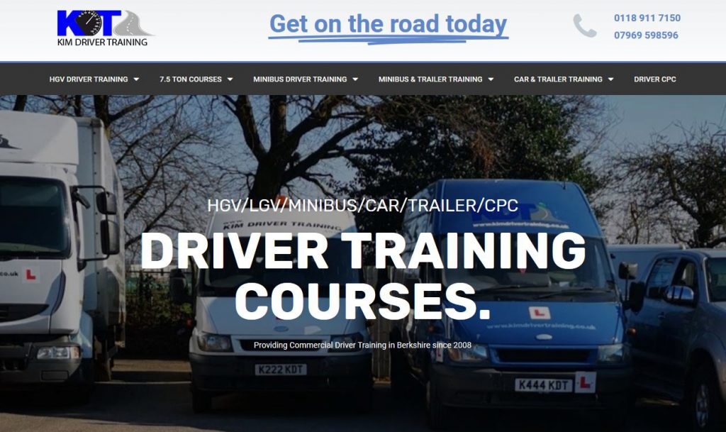 commercial driver training reading web site design